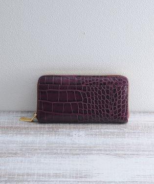 [mieno] 牛革レザークロコ型押しラウンドジップ財布