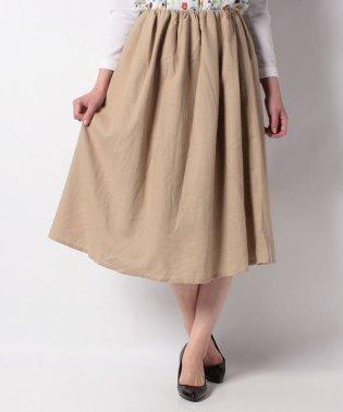 綿麻ギャザーフレアスカート