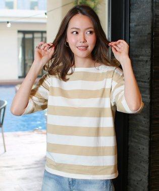 ビッグシルエットボーダーラグランオーバーサイズTシャツ