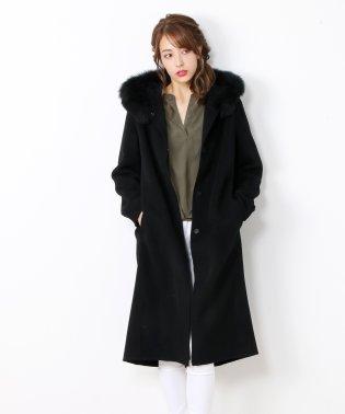 [Filomo] カシミヤ混ロングコート フォックスファー襟付き
