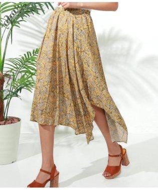 アシンメトリー花柄フレアスカート