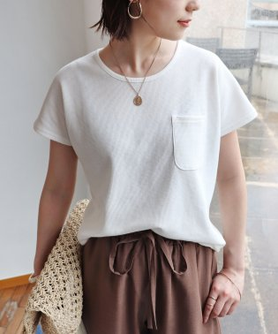 【E-8】ワッフル ポケット付き 半袖 ドルマン Tシャツ