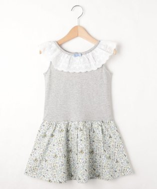 【100-150cm】衿フリル切り替えワンピース