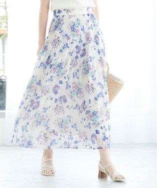 【WEB限定】シフォン花柄プリーツスカート