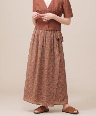 ペイズリープリントロングラップスカート
