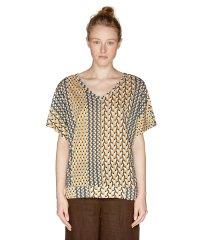 Vネックプリントドルマン半袖Tシャツ・カットソー
