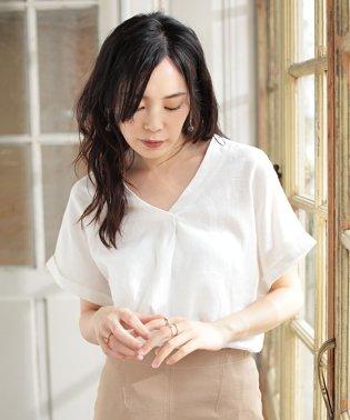 ★【GLOW 7月号掲載】フレンチリネンスキッパータックブラウス
