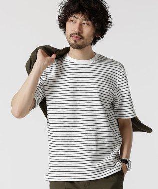 ジャガードボーダークルーネックTシャツ