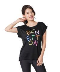 ベネトンカラフルロゴ半袖ラッシュTシャツ・ラッシュガード(UV加工UPF50+)