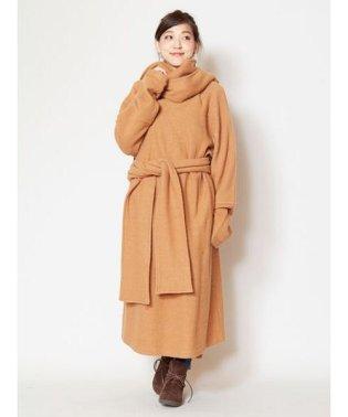【チャイハネ】ウール100%縮絨ニットコート チベタンマント