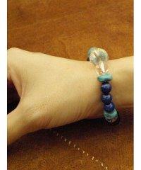【チャイハネ】ブルーMIXボンジ天然石数珠ブレス
