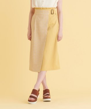 バイカラーラップIラインスカート