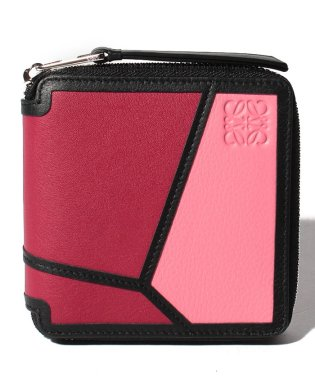 【LOEWE】2つ折り財布/PUZZLE SQUARE ZIP WALLET【WILD ROSE/RASPBERRY】