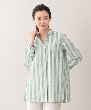 【ウォッシャブル】DEVEAUXラメストライプシャツ
