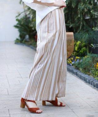 インド綿ストライプワイドパンツ