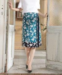 ◆[ウォッシャブル]スカーフエッジフラワースカート