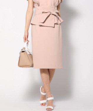 【大きいサイズ】【セットアップ対象】【3Way】ペプラムベルト付きタイトスカート