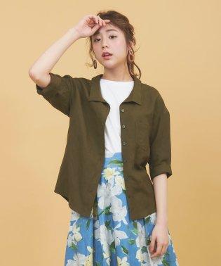 麻混抜き衿シャツ