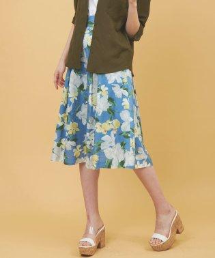綿麻大花柄プリントスカート