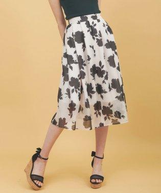 シースルー花柄フレアスカート