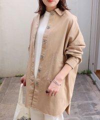 綿ツイル ロング丈 オーバーサイズ シャツ ジャケット