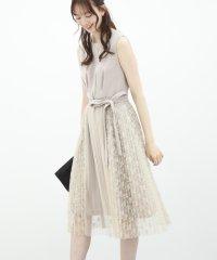 【ドレスライン】ワンピース+プリーツ巻きスカートセットドレス