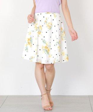 ドット×花柄フレアースカート