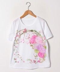 【大きいサイズ/30周年記念/洗える】フローラルパネルプリントTシャツ/コットン天竺