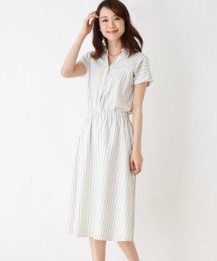 【WEB限定・洗濯機洗いOK・防シワ】ストライプシャツ ワンピース