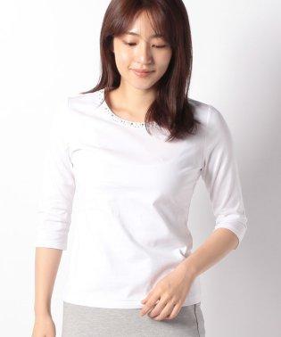 【洗える】ストーン付き七分袖カットソー/コットン天竺