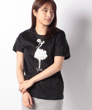 【洗える】コットンシルケット天竺 バードプリントTシャツ