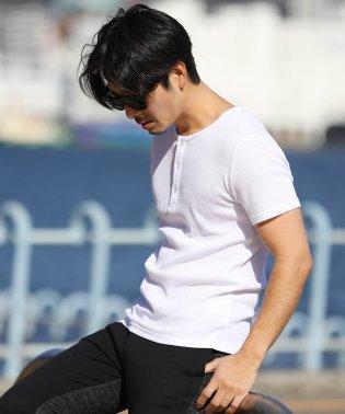 ヘンリーネックワッフルT / サーマル Tシャツ ヘンリーネック 夏服 メンズ 半袖 無地 カットソー ティーシャツ