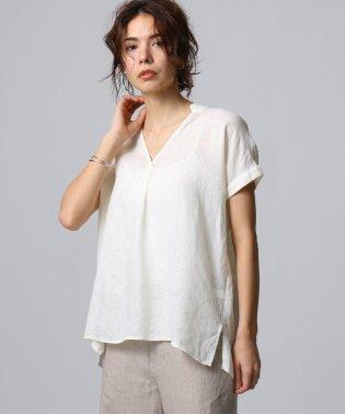 【洗える】フレンチリネン ノースリーブシャツ