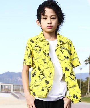 【カタログ掲載】【ニコプチ掲載】綿麻ヤシの木プリントアロハシャツ