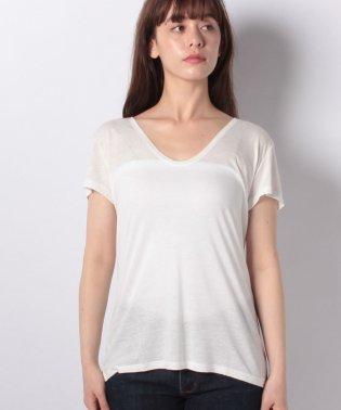 リネン混Vネックフレンチ半袖Tシャツ・カットソー