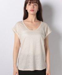リネンラウンドネックフレンチスリーブ半袖Tシャツ・カットソー