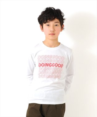 中抜きロゴプリント長袖Tシャツ