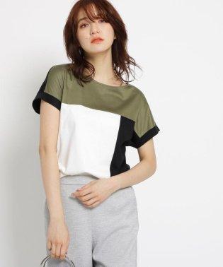 [S]【マシンウォッシュ/UV/接触冷感】シルケットスムース ブロッキングTシャツ