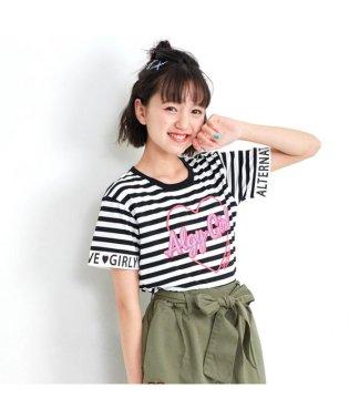 ニコ☆プチ4月号掲載   袖ロゴぷっくりハートTシャツ