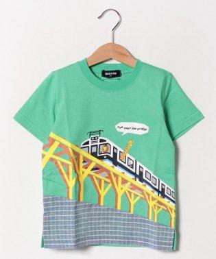 陸橋電車プリントTシャツ