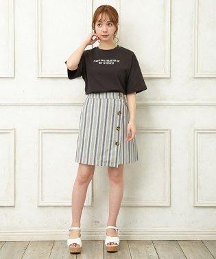 ストライプ柄台形/スカート
