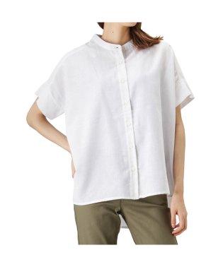 Free Nature Linen 半袖前開きスタンドカラーシャツ 391502MH