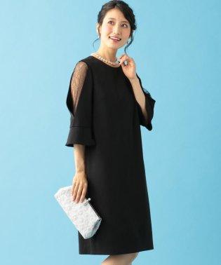 【PRIER】レース切替フレア袖コクーン ドレス