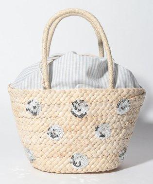 メイズドット刺繍かごバッグ