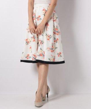 裾配色大花柄ミディースカート