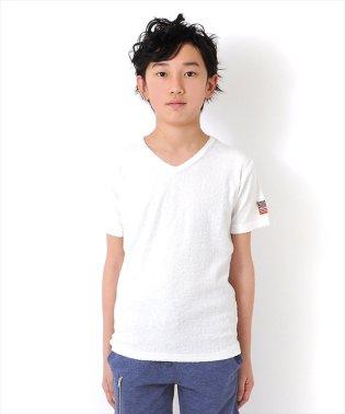 星条旗ワッペンVネックパイル地半袖Tシャツ