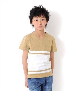 パネルボーダーVネック半袖Tシャツ