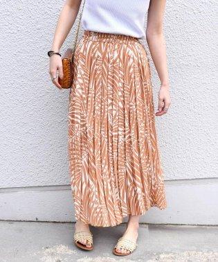 Khaju:リーフプリントプリーツスカート
