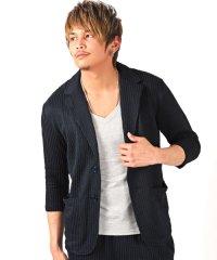 シアサッカーストライプ七分袖テーラードジャケット※別売りのボトムスとセットアップが可能 テーラード ジャケット