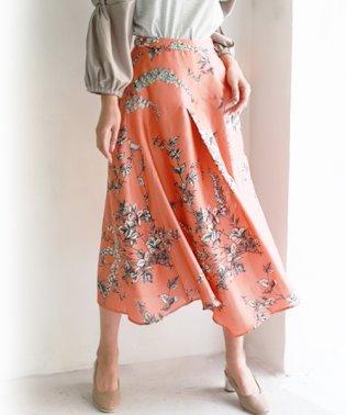 サテンフラワーロングスカート